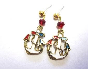 Anchor Earrings Nautical Enamel Red White Blue