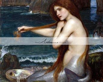 Printable Instant Download Art - Mermaid by Waterhouse - Art Nouveau Mythology - Vintage Art Print - Paper Crafts Altered Art Scrapbooking