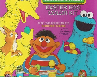 Vintage / PAAS (r) / Sesame Street Easter Egg Color Kit / 48 Colorful Stickers / 30 Sesame Street Egg Holders and Stand-Up Play Pieces