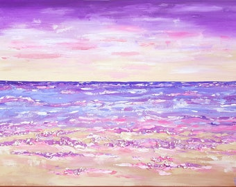 "Original Abstract Painting Acrylic Art Textured Wall Decor Canvas 24x18 ""Seacape III"" Landscape Home Decor Modern Coastal Purple Beige Blue"