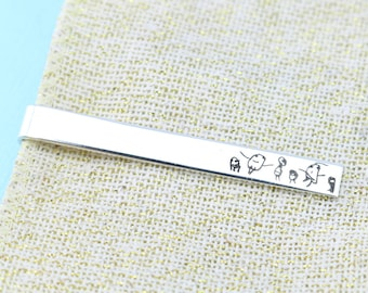 Father's Day - Mens Personalized - Tie Clip Mens - Child's Drawing - Father's Day Gift - Actual Handwriting - Tie Bar