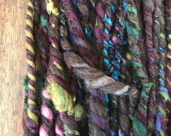 The Midnight Hour,  jumbo wild art yarn, 30 yards, blue purple green,  three ply textured art yarn, handspun, bulky wild yarn, weaving yarn