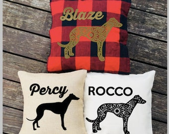 Personalized Greyhound Dog Pillow - Silhouette Pillow - Dog Pillow Cover - Burlap Pillow - Buffalo Plaid Pillow - Decorative Pillow