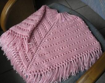 Knitted Poncho, Girls Medium - Soft Pink