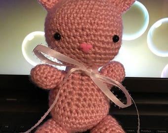 Crocheted Amigarumi Bunny- Pink