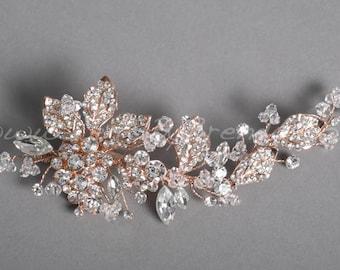 Rose Gold Leaf Bridal Comb, Rose Gold Wedding Headpiece - Pamela