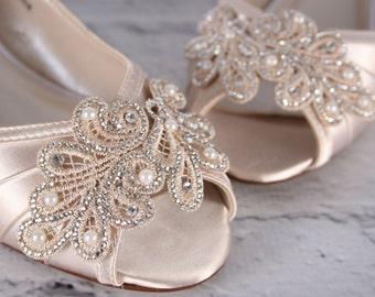 Wedding Shoes, Ivory Wedding Shoes, Wedges, Wedge Wedding Shoes, Lace Wedding Shoes, Wedding Bling, Wedding Shoe Bling, Custom Wedding Shoes