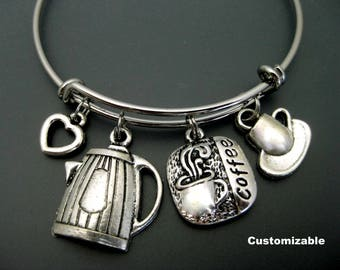 Coffee Bracelet / Coffee Lover Bangle  / Gift for Coworker / Adjustable Charm Bangle / Expandable Bangle / Barista Bangle Bracelet /  /