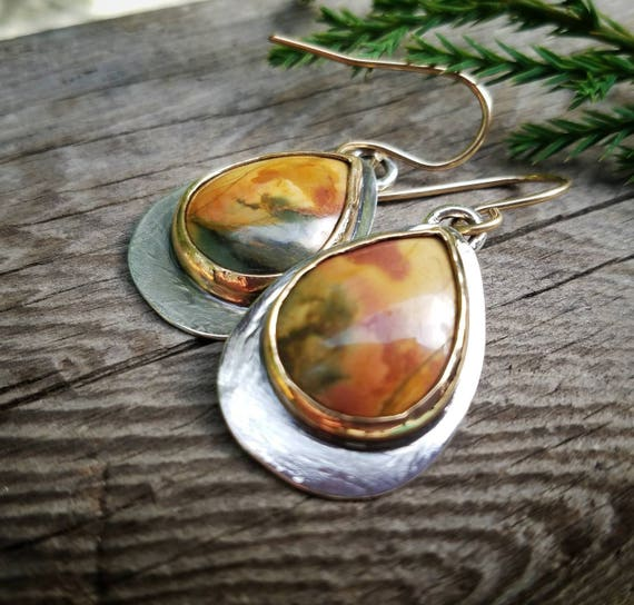 Jasper Dangle Earrings. Mixed Metal Gold and Silver Artisan Jewelry, OOAK, Earthy Boho Cowgirl Style Jewelry, Mixed Metals