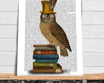 Owl Art - Owl on Books - geeky décor geek dad geek gift geek kid woodland nursery Woodland Critter woodland theme woodland décor kids room