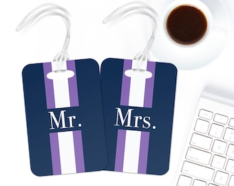 Personalized luggage tag custom Mr. and Mrs. Bag tag monogram tag wedding gift tag navy