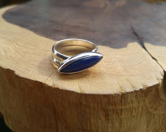 Handmade, Sterling Silver, Thick Band, Lapis Lazuli, Ring, Size 9