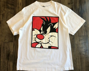 Sylvester The Cat T-Shirt Mens Size XL Vintage ACME Looney Tunes Tee Cartoon Top Comic Character Television