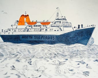North Sea Ferry - drypoint print