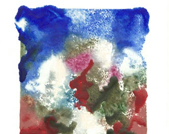 """abstract painting - encaustic art - """"Ivy Hill"""" - summer landscape painting -  original contemporary art - gift for her"""