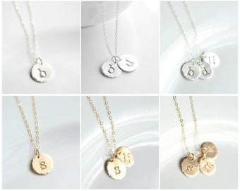 Initial Necklace Kids - Circle Letter Pendant - Mom Necklace Initial - Sterling Silver Childrens Initial Jewelry Gold Initial Disc Necklace