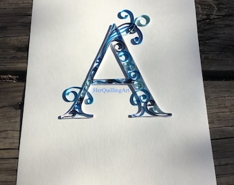 Custom Quilled Letters or Monograms - Paper Quilled Art 8.5x11