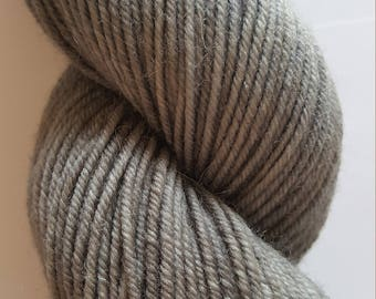 """Hand dyed Worsted 4 ply Highland Wool """"Granite"""", beautiful medium gray tones, perfect for hats, mittens, cowls, scarves, sweaters."""