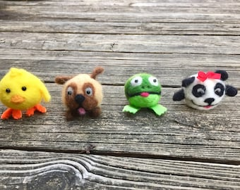 Set of felted ball animals