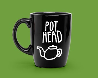 Pothead Decal Hand Lettered - Coffee Lover Gift - Unique Coffee Mug Decal - Punny Decal - Novelty Statement Mug, COFFEE Mug VINYL DECAL