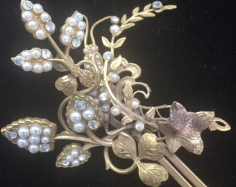Vintage British Made Gold Plated Jeweled Hair Pin