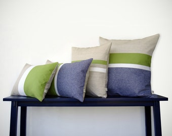 Lime & Chambray Striped Colorblock Pillow Cover Set of 4 - Modern Home Decor by JillianReneDecor (Custom Colors Available)