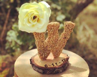 Rustic wedding cake topper fall wedding cake topper letter cake topper