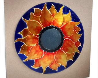 Eco Sunflower Window Decoration Ornament Hanging Suncatcher. Made from handpainted, recycled repurposed CD.