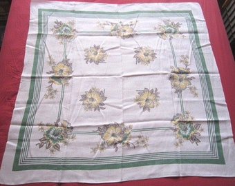 Vintage 47x48 Linen Kitchen Tablecloth with Yellow and Green Floral Design