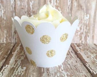 gold polka dot cupcake wrappers, gold and white cupcake wrappers, wedding cupcake wrappers, set of 24