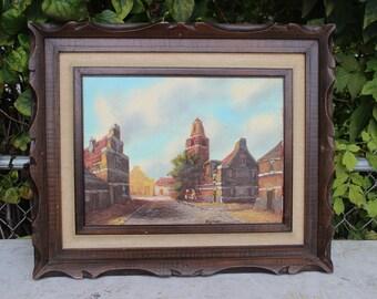 Signed Rennet Oil Painting Canvas Dutch Street Scene Buildings People Cobblestone Streets Vintage Framed