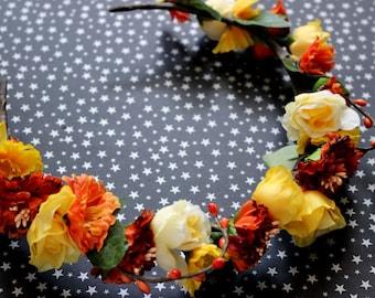 Honey Faerie Flower & Leaf Crown - Wreath - Tiara - Headband - Prom - Bridal - Wedding - Halloween