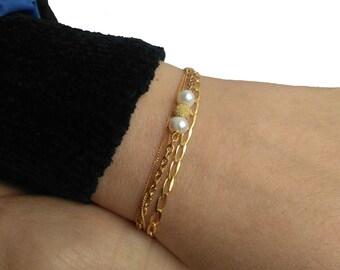 Sterling Silver bracelet 925, Pearls bracelet, Minimal bracelet, Dainty bracelet.