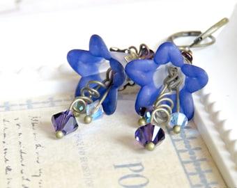 Midnight Blue Lucite Flower Earrings, Blue Earrings, Vintage Chic Earrings with Swarovski Crystals