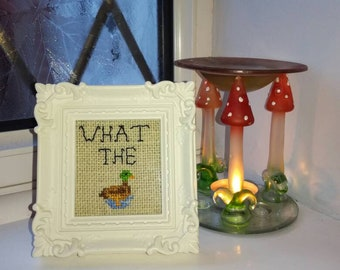 What the duck! Completed cross stitch in ornate frame
