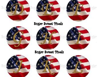 INSTANT DOWNLOAD American Flag Alphabet Digital 1 inch Bottlecap Images 2 4x6 sheets