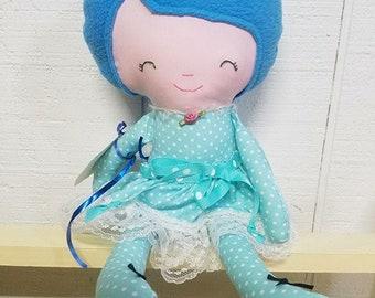 Soft Cloth Doll, aqua color clothes, Felt hair