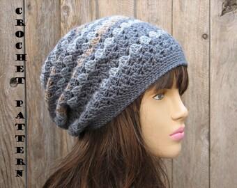 CROCHET PATTERN - Slouchy  Hat, Crochet Pattern PDF,  Pattern No. 27