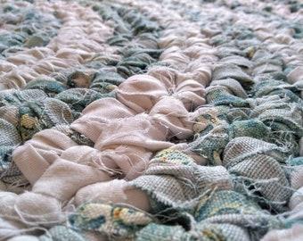 Handmade Crocheted Round Rag Rug, Eco Friendly, Upcycled Curtains, Eco Friendly Rag Rug.