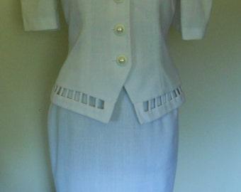Vintage des années 80 par Leslie Lucks blanc mariage mère femmes de robe de mariée costume taille 10