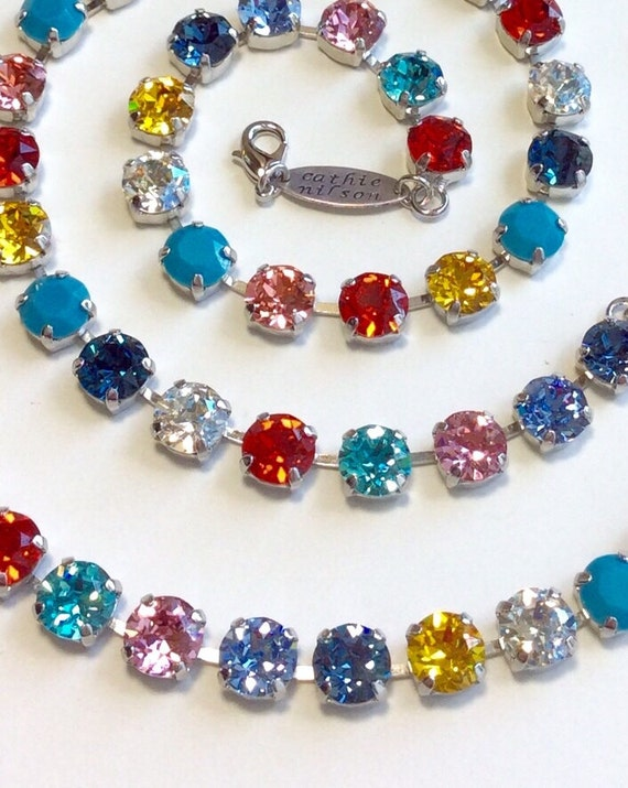"""Swarovski Crystal 8.5mm Necklace & Bracelet - """"A White Shirt, Jeans, Flats and This Necklace"""" and Bracelet ! Casual Elegance - FREE SHIPPING"""