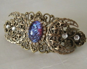 Dragons Breath Fire Opal Barrette, renaissance jewelry medieval jewelry victorian jewelry art nouveau art deco tudor steampunk gothic
