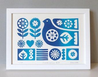Scandinavian Bird Screen Print Flowers Scandi Retro Blue Fran Wood Design