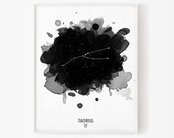 taurus constellation, zodiac taurus, constellation, taurus watercolor, stars, star, taurus digital, zodiac constellation, zodiac print