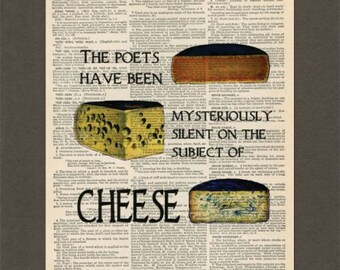 Cheese, GK Chesterton Quote, Dictionary Art Print, Upcycled Dictionary Page, Old Book Art, Decorative Wall Art, 045