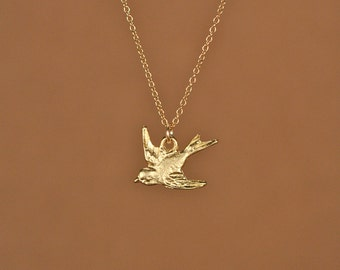 Tiny swallow necklace - bird necklace - gold birdie - flying bird necklace - a little 22k gold overlay sparrow on a 14k gold vermeil chain