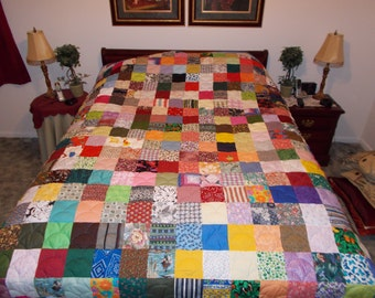 Custom Quilts / Queen Quilt / Patchwork Quilts / Scrappy Patchwork Quilt - Queen Size Quilt - Full Payment