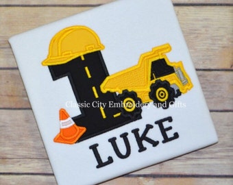 construction birthday party, construction shirt, dump truck birthday shirt, boy birthday party, toddler birthday party, baby boy outfit