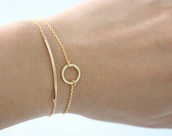 SET OF 2 Gold Bar and Gold Circle bracelet, Gold bar bracelet, gold circle bracelet, Karma bracelet, bridesmaid gift