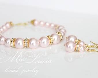 Rose Gold Wedding Jewelry Set, Blush Pearl and Gold Bridal Jewelry Set, Bracelet and Earrings SET,  Pink Jewelry for Brides, e39-b02